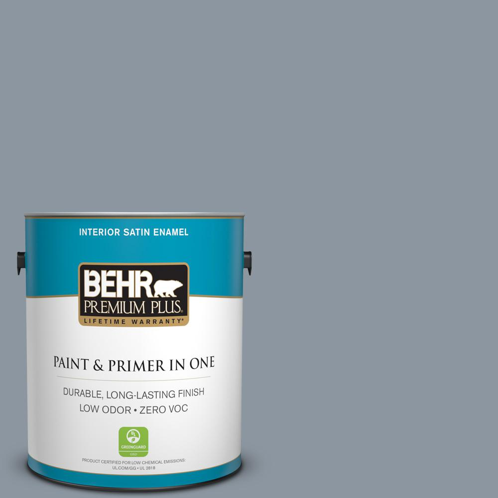 1-gal. #750F-4 Raging Sea Zero VOC Satin Enamel Interior Paint