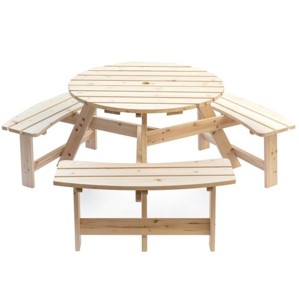 Natural 6-Person Round Wooden Outdoor Picnic Table with Bench for Patio with Umbrella Hole