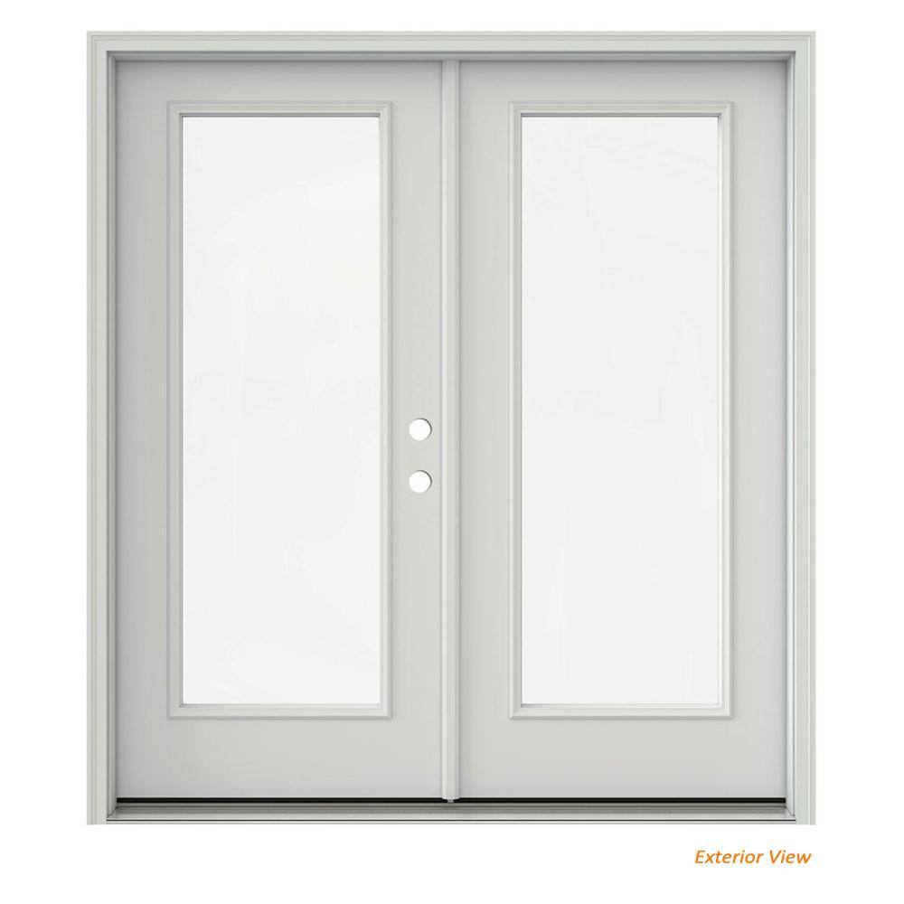 72 in. x 80 in. Primed Steel Left-Hand Inswing Full Lite Glass Active/Stationary Patio Door