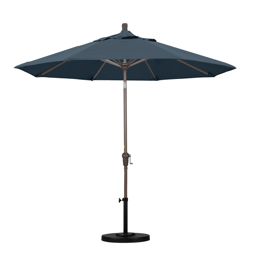 9 ft. Aluminum Auto Tilt Patio Umbrella in Sapphire Pacifica