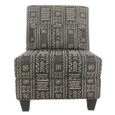 Black and White Mudcloth Large Slipper Accent Chair
