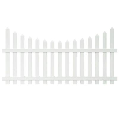 Glendale 4 ft. H x 8 ft. W White Vinyl Scalloped Top Spaced Picket Fence Panel with 3 in. Unassembled Pointed Pickets