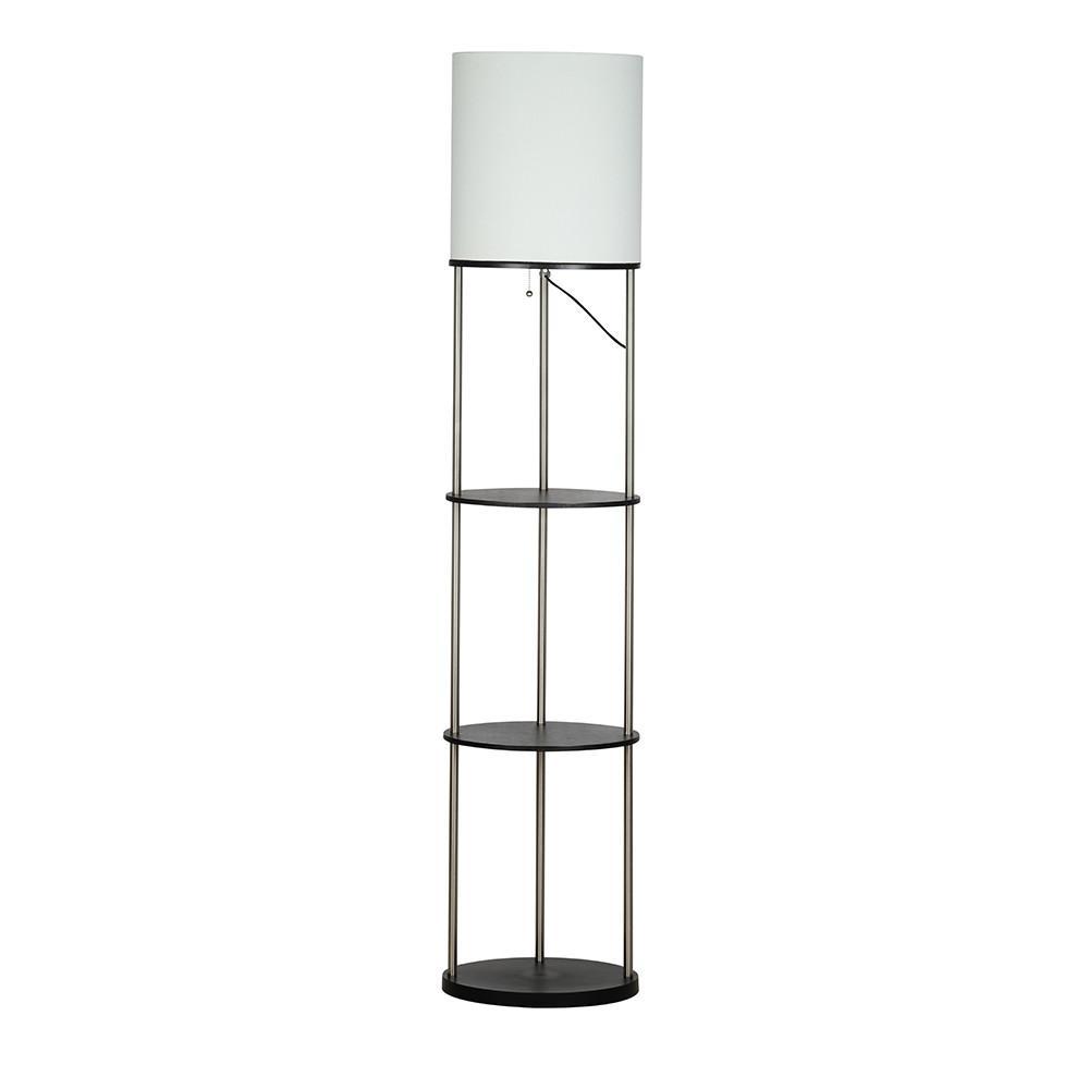 63 in. Brushed Steel/Black Oval Etagere Floor Lamp