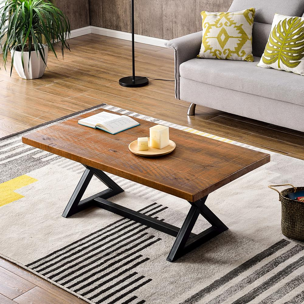 Harper & Bright Designs Farmhouse Industrial Cocktail Coffee Table with X-Shaped Metal Frame, Brown was $255.91 now $182.99 (28.0% off)