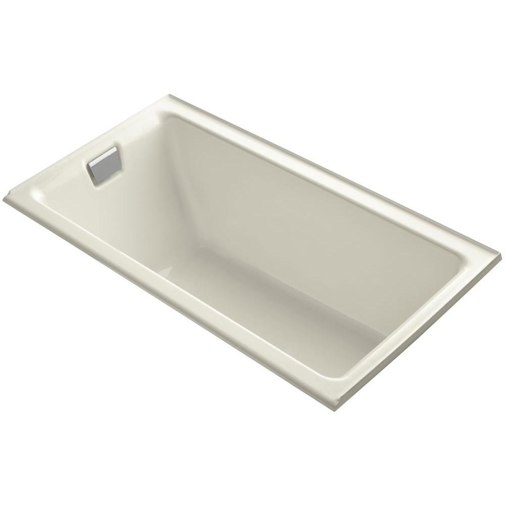KOHLER Tea-for-Two 5.5 ft. Rectangular Drop-in Left Drain Soaking Bath Tub in Biscuit