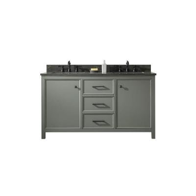 60 in. W x 22 in. D Vanity in Pewter Green with Marble Vanity Top in White with Double White Basins with Backsplash