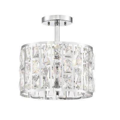 Kristella 12.5 in. 3-Light Chrome Semi Flush Mount Light with Clear Crystal Shade