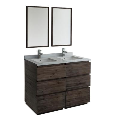 Formosa 48 in. Modern Double Vanity in Warm Gray with Quartz Stone Vanity Top in White with White Basins and Mirrors