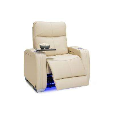 Solstice Cream Leather Home Theater Seating Power Recliner Adjustable Powered Headrests, Lumbar Support, Cup Holders