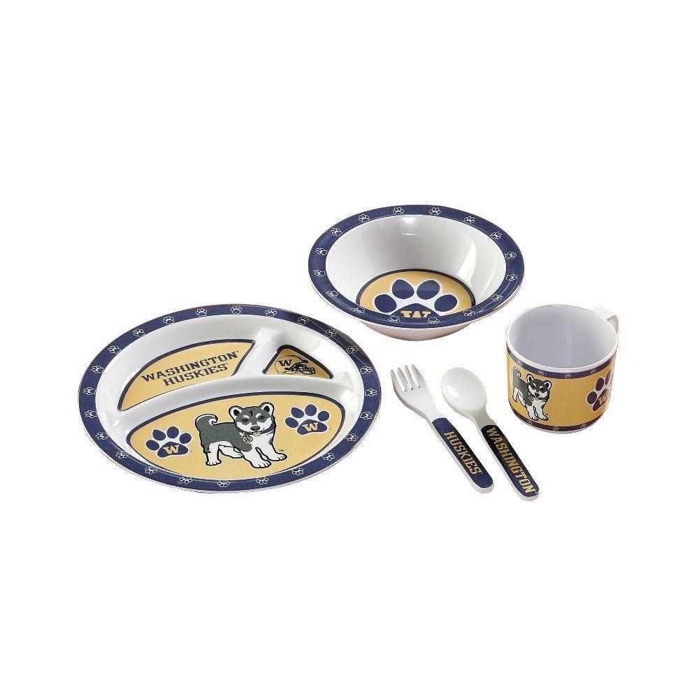 NCAA Washington Huskies 5-Piece Kid's Dish Set