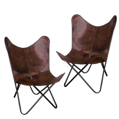Brown Natural Leather Butterfly Chair (2-Piece Set)