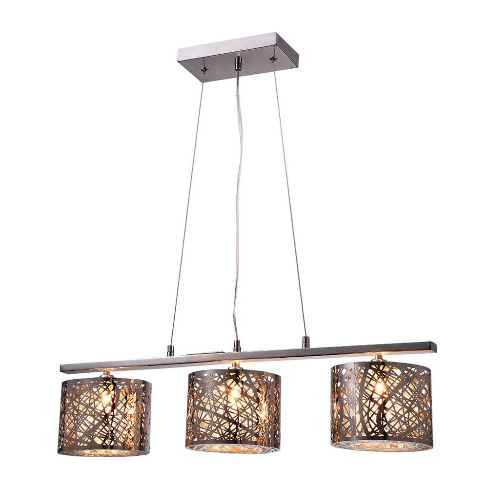 Avery 3-Light Chrome Indoor Crystal Pendant Lamp