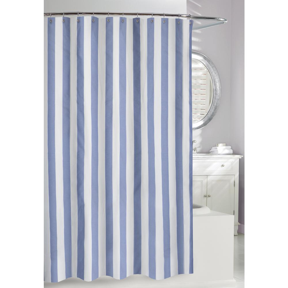 Best Lauren Stripe 71 in. Blue and White Fabric Shower Curtain-205100  BX52