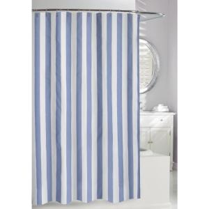 Lauren Stripe 71 inch Blue and White Fabric Shower Curtain by