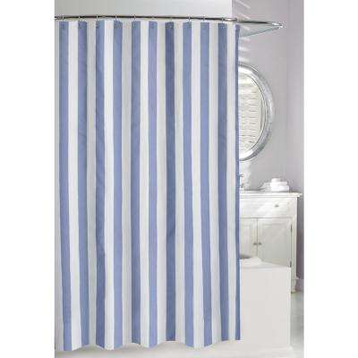 Lauren Stripe 71 in. Blue and White Fabric Shower Curtain