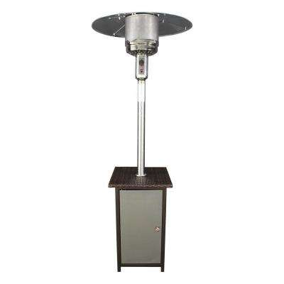 41,000 BTU Stainless Steel Gas Patio Heater with Wicker Stand and Door