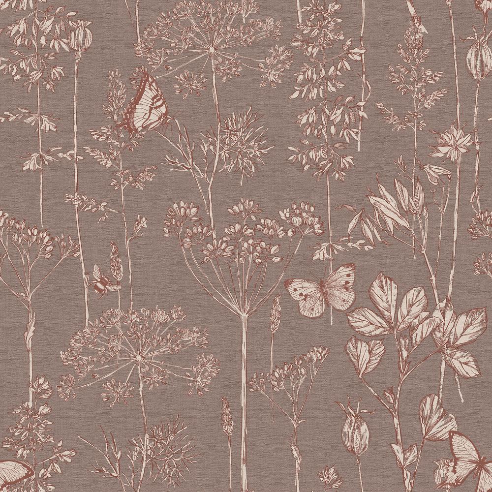 Meadow Floral Chocolate Non-Woven Wallpaper