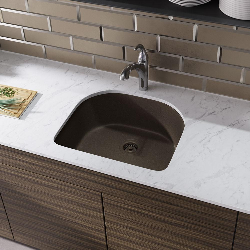 Rene Undermount Composite Granite 24-3/4 in. Single Bowl Kitchen Sink in  Umber