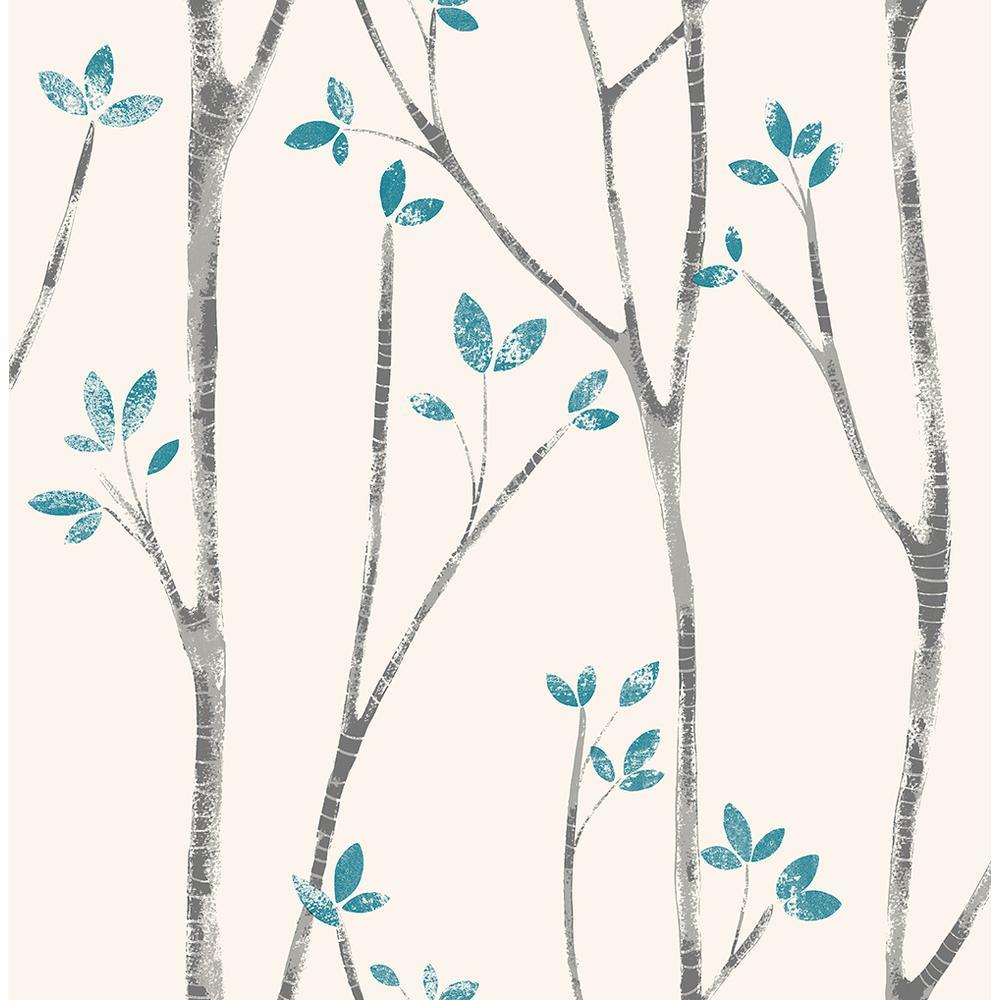 Brewster 56.4 sq. ft. Ingrid Blue Scandi Tree Wallpaper