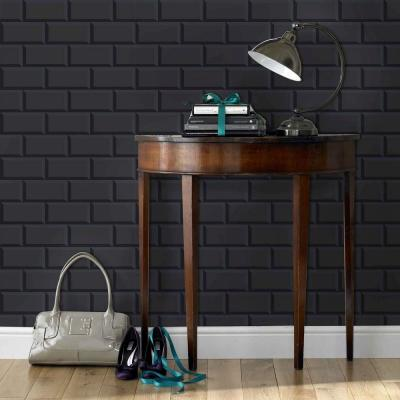 Strata Parisio Black Removable Wallpaper