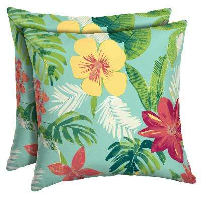 Elea Tropical Square Outdoor Throw Pillow (2-Pack)