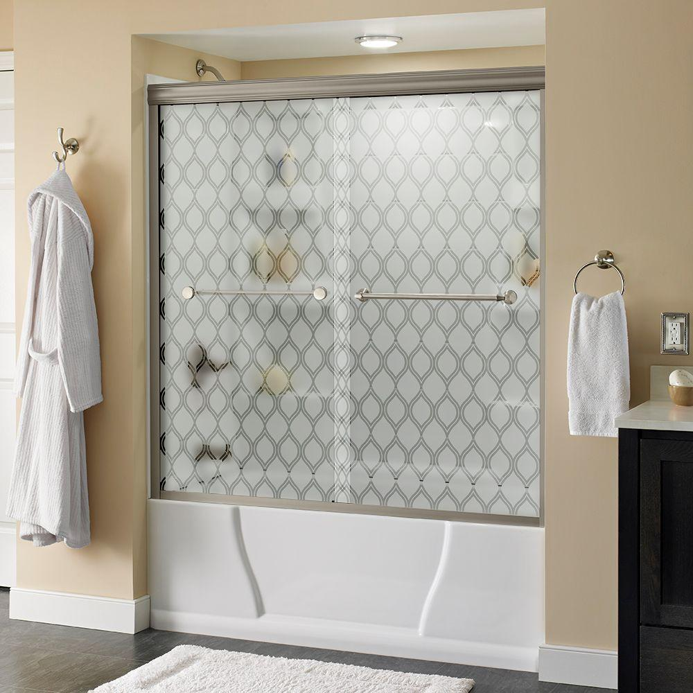 Delta Mandara 60 in. x 58-1/8 in. Semi-Frameless Sliding Bathtub Door in Nickel with Ojo Glass