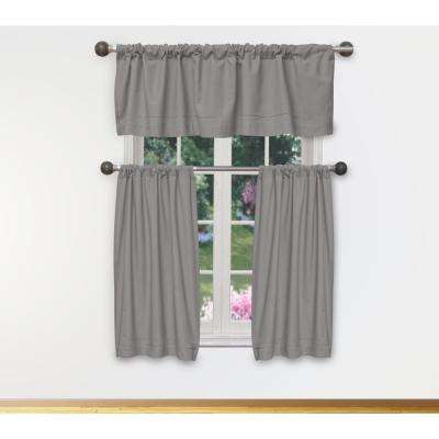 Miles Kitchen Valance in Tiers/Grey - 15 in. W x 58 in. L (3-Piece)