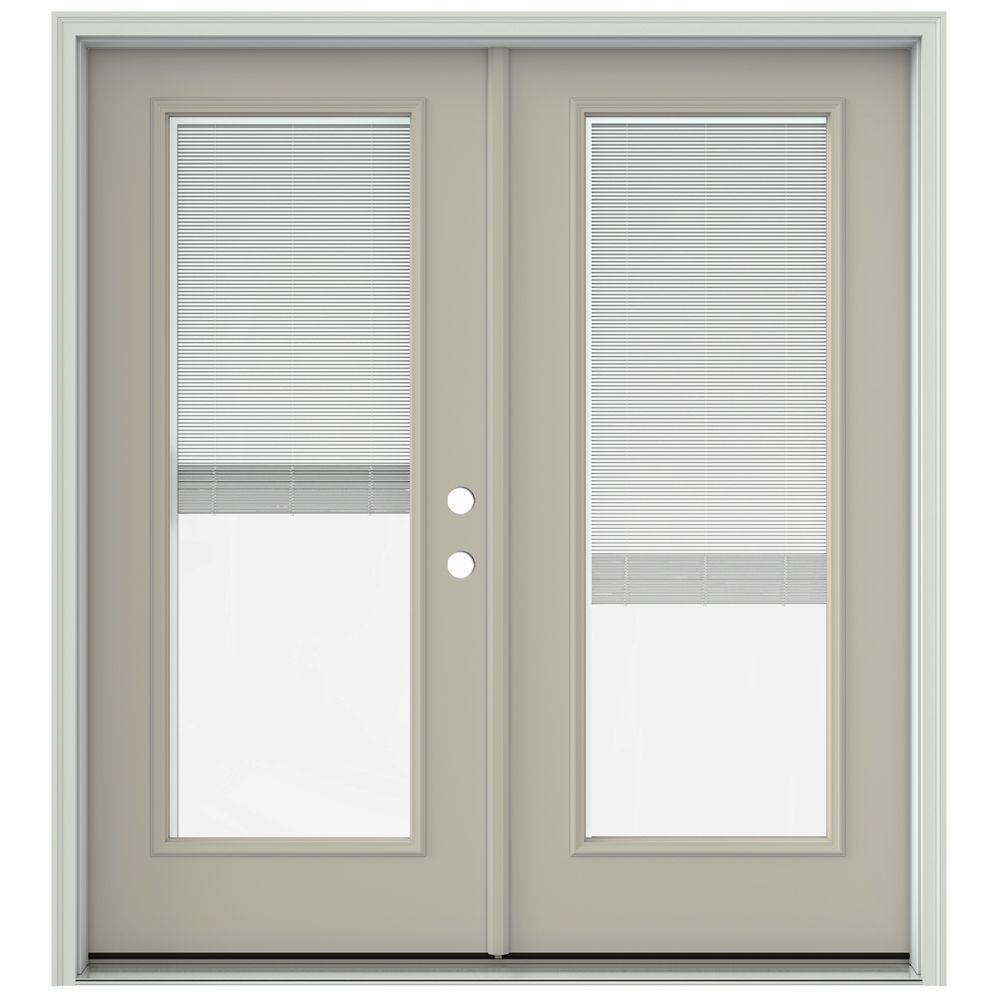 Jeld wen 72 in x 80 in desert sand prehung left hand for French patio doors with blinds