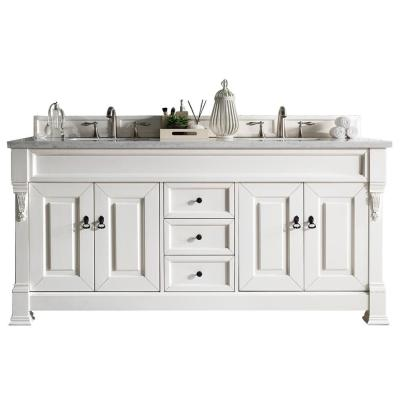 Brookfield 72 in. W Double Bath Vanity in Cottage White with Solid Surface Vanity Top in Arctic Fall with White Basin
