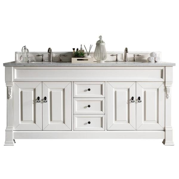 James Martin Vanities Brookfield 72 In W Double Bath Vanity In Cottage White With Solid Surface Vanity Top In Arctic Fall With White Basin 147 114 5741 3af The Home Depot