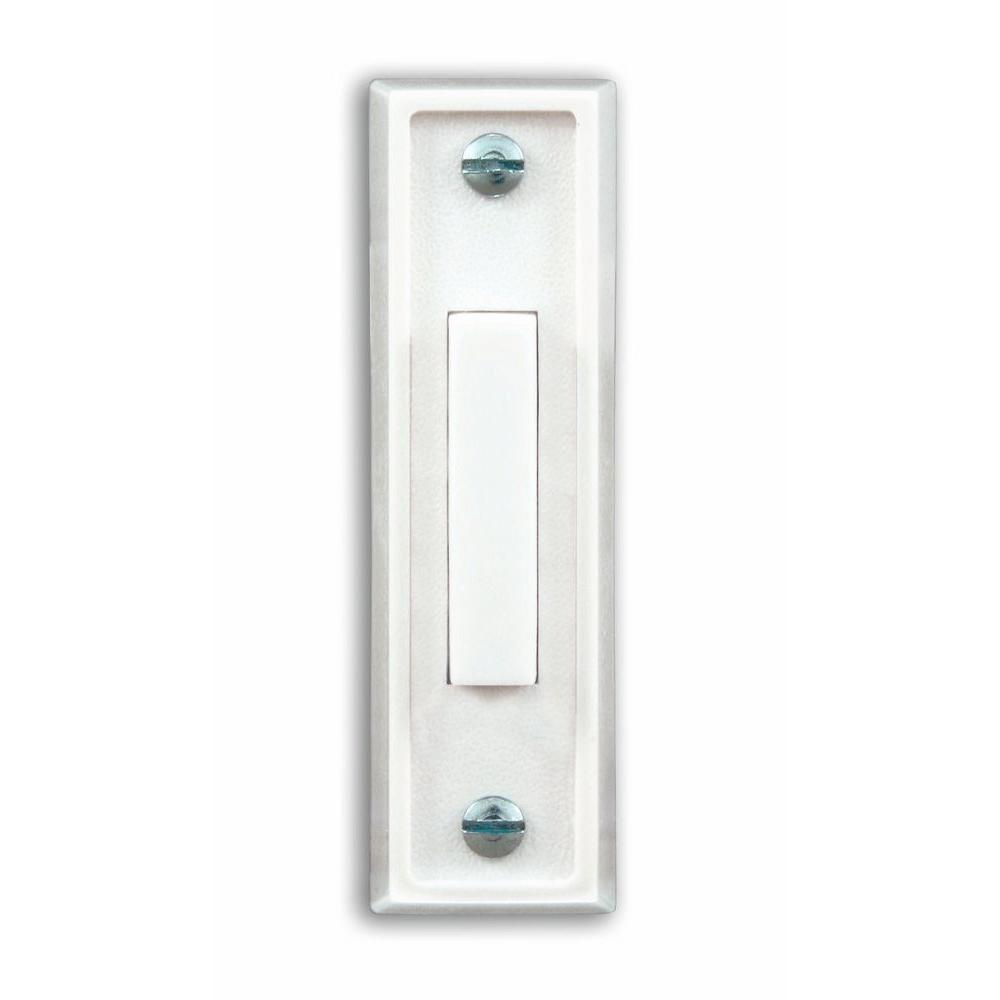 Heath Zenith Wired White Push Button With White Center Bar