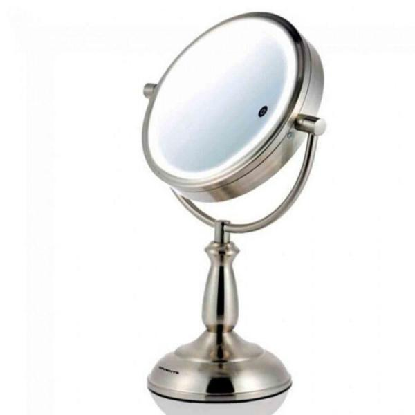 Small Nickel Brushed Metal Lighted Tilting Glam Mirror (16.7 in. H X 7.1 in. W)