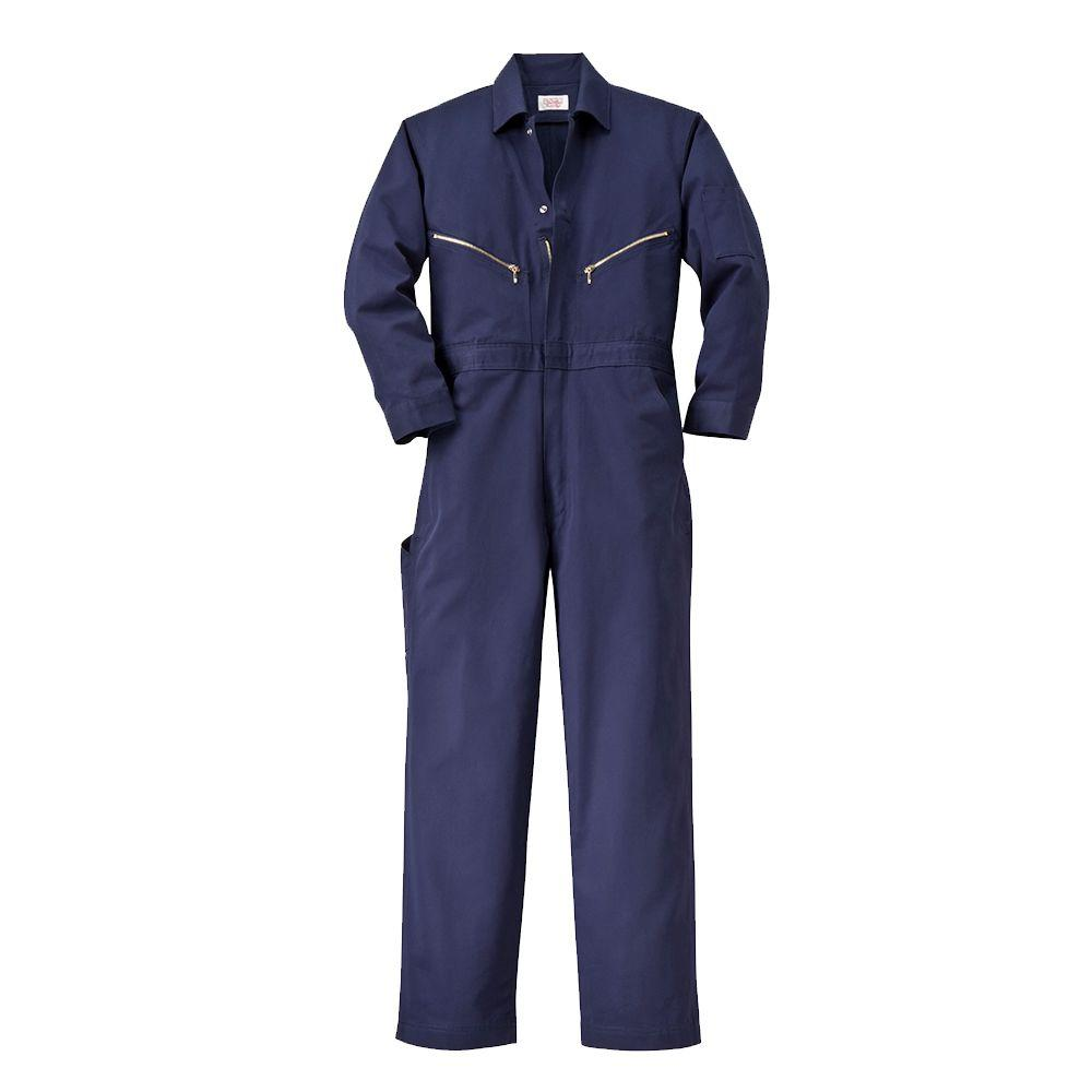 Twill Non-Insulated 34 in. Regular Long Sleeve Coverall in Navy