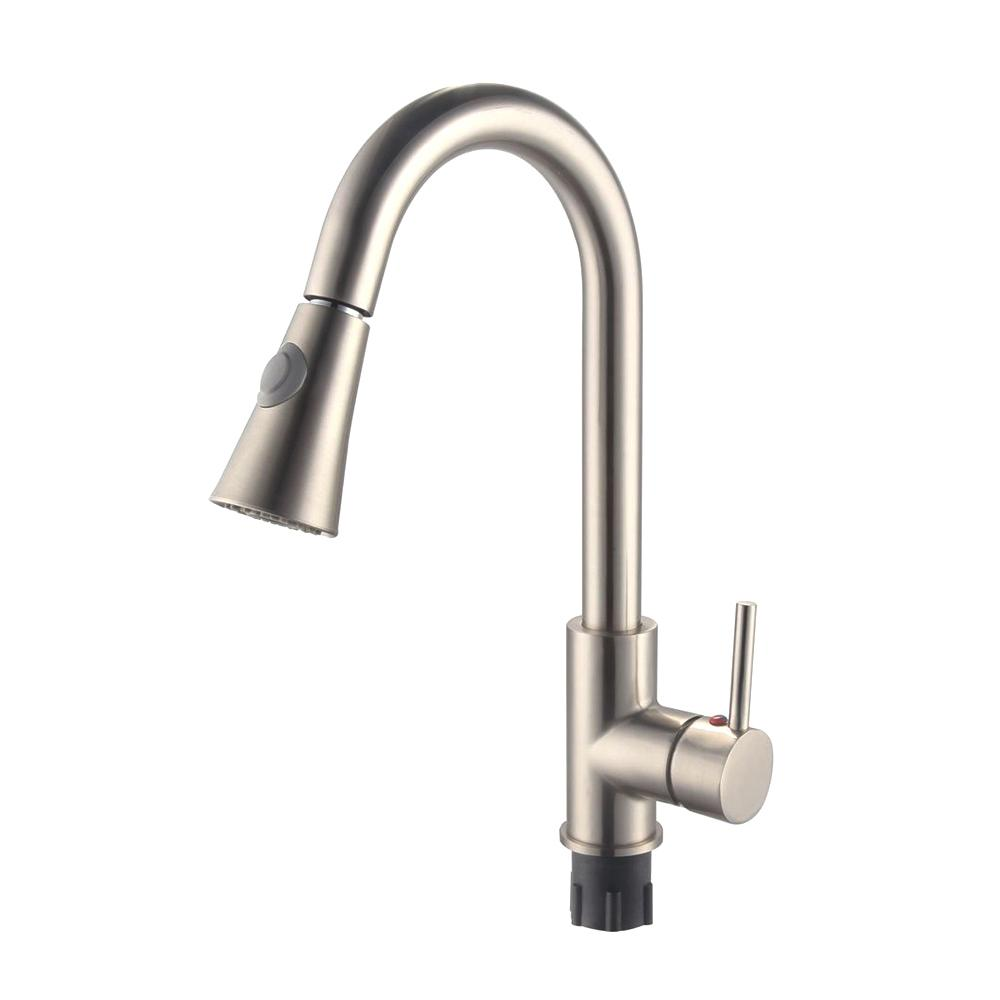 Vanity Art 9.06 in. Single-Handle Pull-Down Sprayer Kitchen Faucet in Brushed Nickel was $122.0 now $85.4 (30.0% off)