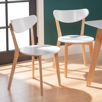 White and Natural Dining Chair (Set of 2)