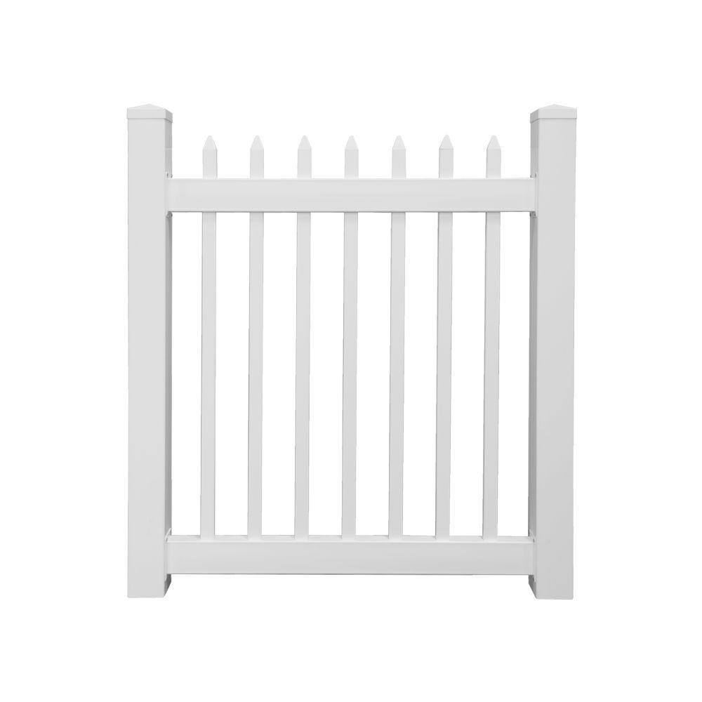 h white vinyl picket fence gate