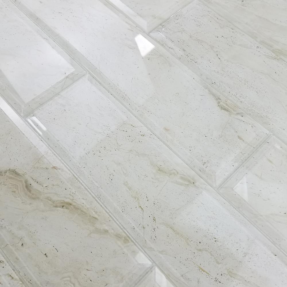 4 in. x 16 in. Nature Crema Marfil Beveled Glass Peel and Stick Decorative Wall Tile Backsplash Sample