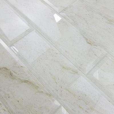 Nature Crema Marfil Beveled 4 in. x 16 in. Glass Wall Tile (6-pieces / pack)