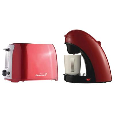 1-Cup Red Coffee Maker with Mug and 2-Slice Red Extra-Wide Slot Toaster