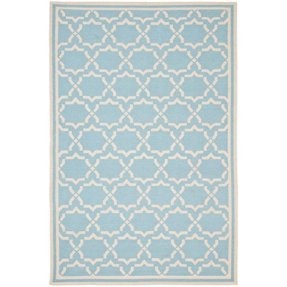 Dhurries Light Blue Ivory 10 Ft X 14 Area Rug