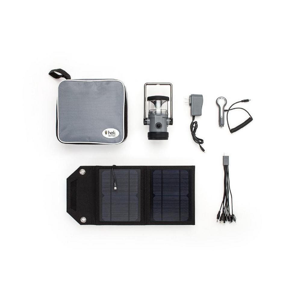 Heli 2200 Kit Ac Wall Adapter 10 In 1 Dc Car Charger Carrying Case 7 Watts Solar Panel Led Rechargeable Lantern Grey Gr8lh Ak22 The Home Depot