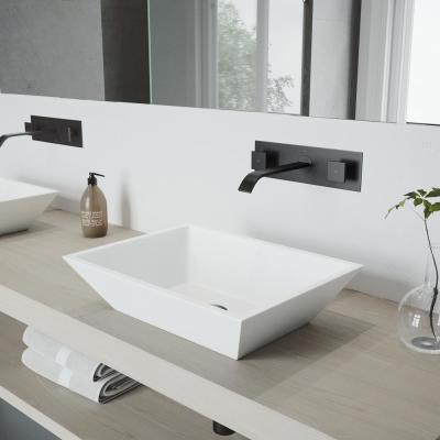 Titus 2-Handle Wall Mount Bathroom Faucet in Matte Black
