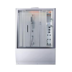 Ariel Platinum 59 inch x 87.4 inch x 32 inch Steam Shower Enclosure Kit with Whirlpool Tub in White by Ariel Platinum