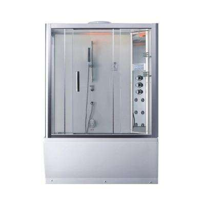 59 in. x 87.4 in. x 32 in. Steam Shower Enclosure Kit with Whirlpool Tub in White