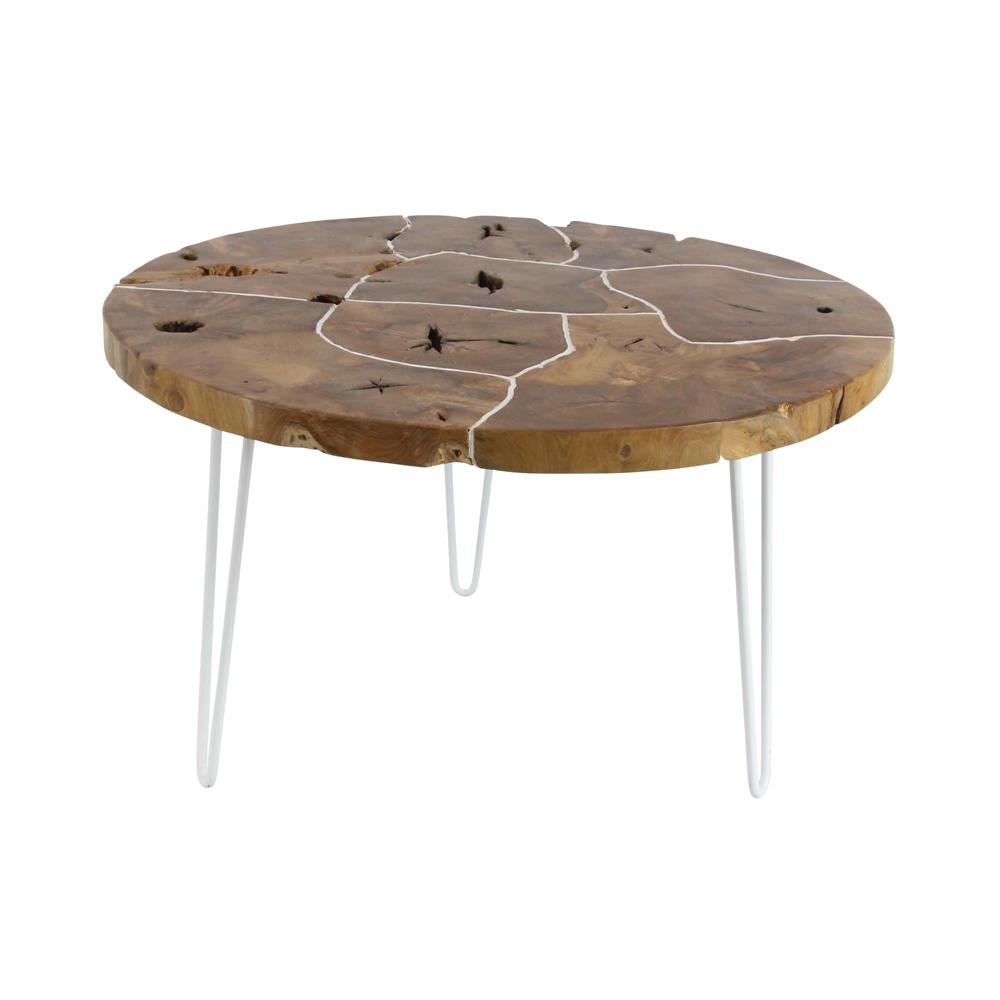 19 in x 32 in rustic iron and teak wood round dark brown for Rustic dark brown coffee table
