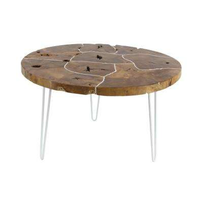 Rustic Iron And Teak Wood Round Dark Brown Coffee Table