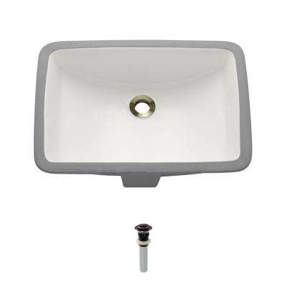 Undermount Porcelain Bathroom Sink in Bisque with Pop-Up Drain in Antique Bronze