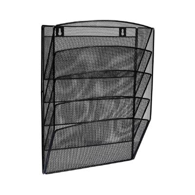 Steel Mesh 5-Pocket Wall-Mounted Magazine Rack