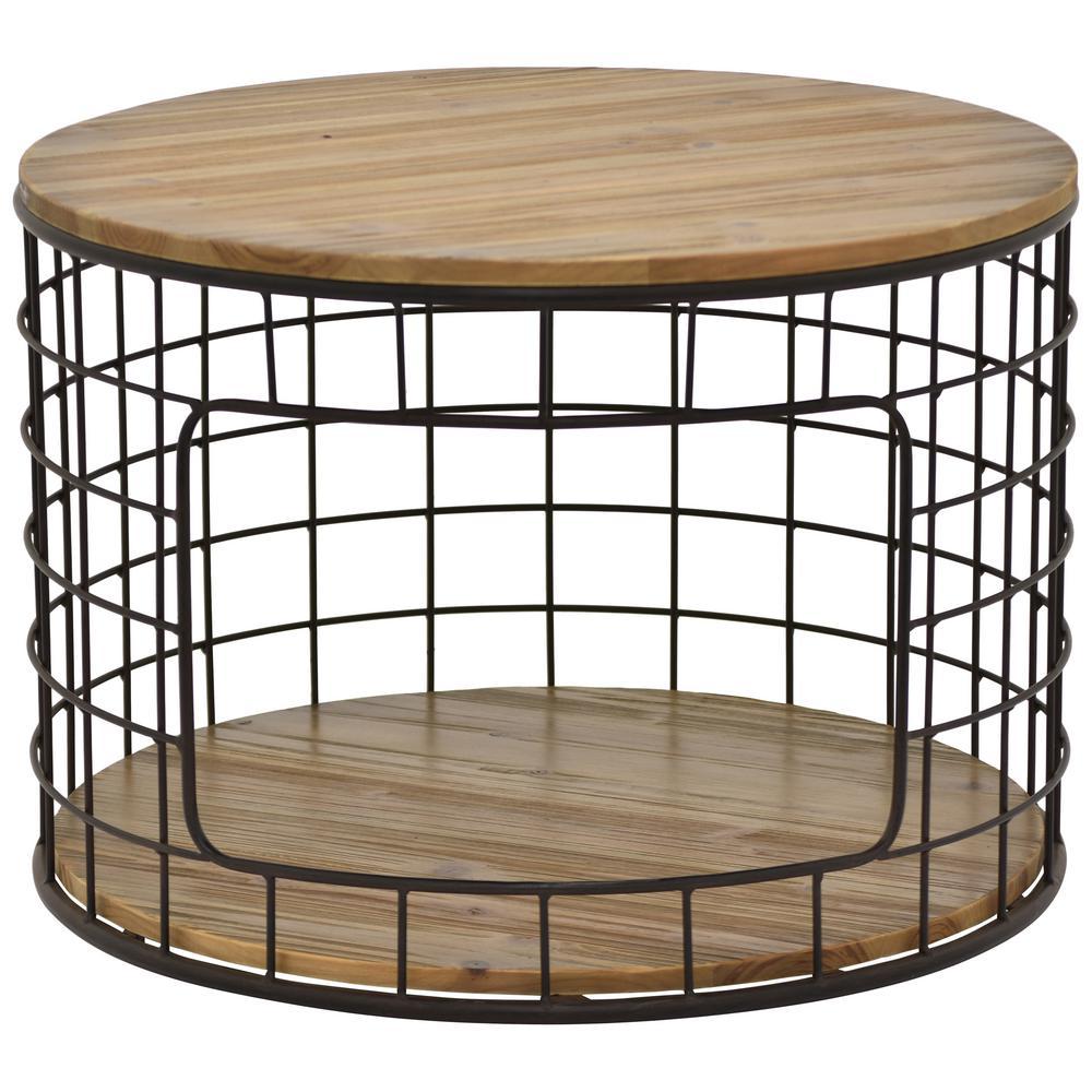 17.25 in. Brown Metal Wood Table
