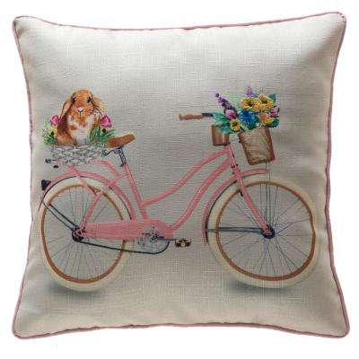 18 in. Easter Bunny and Bike Pillow